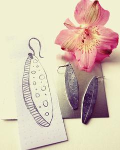 aluminium and silver earrings