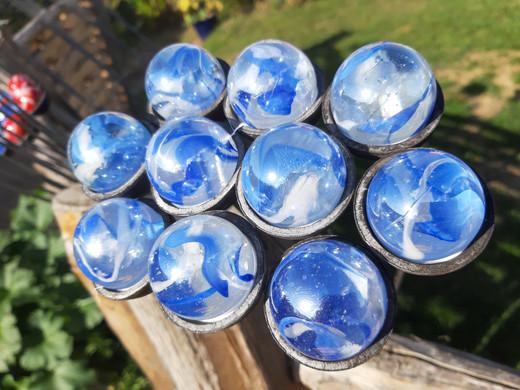 Blue glass garden orbs at Blackthorpe Ba