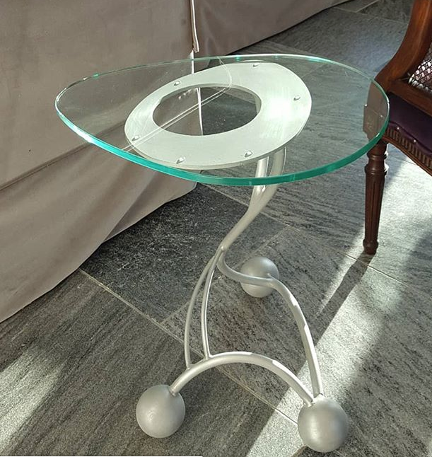 Set of side tables with brushed aluminiu