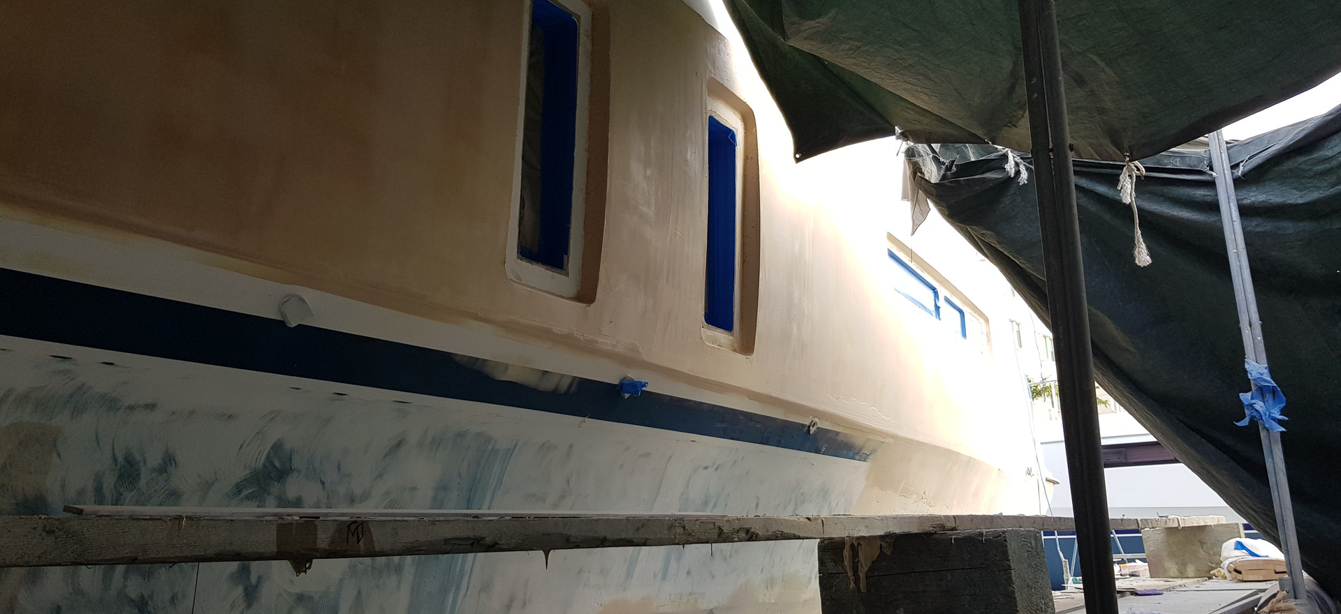 Filled and faired with epoxy filler