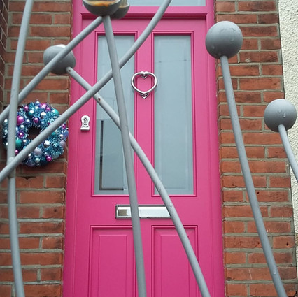 Gate with pink marbles