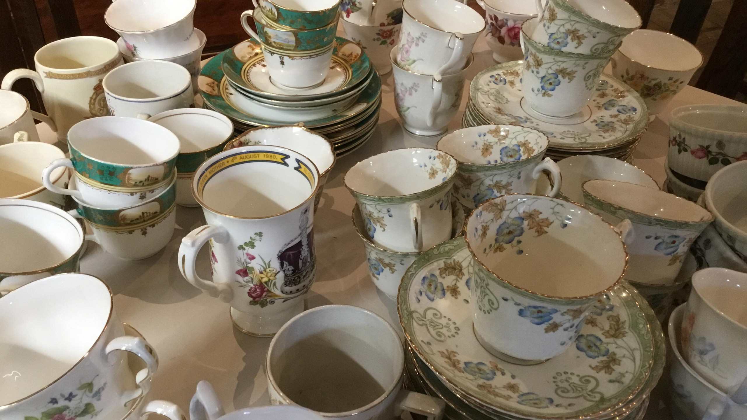 drink and eat from vintage china