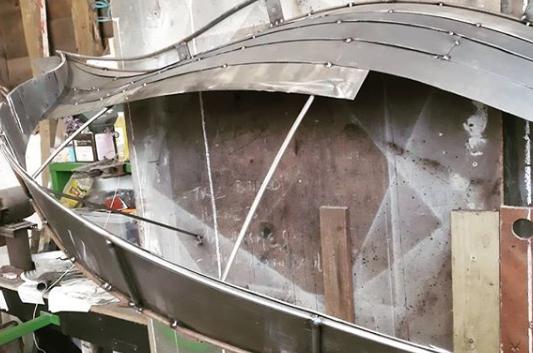 organic form canopy under construction