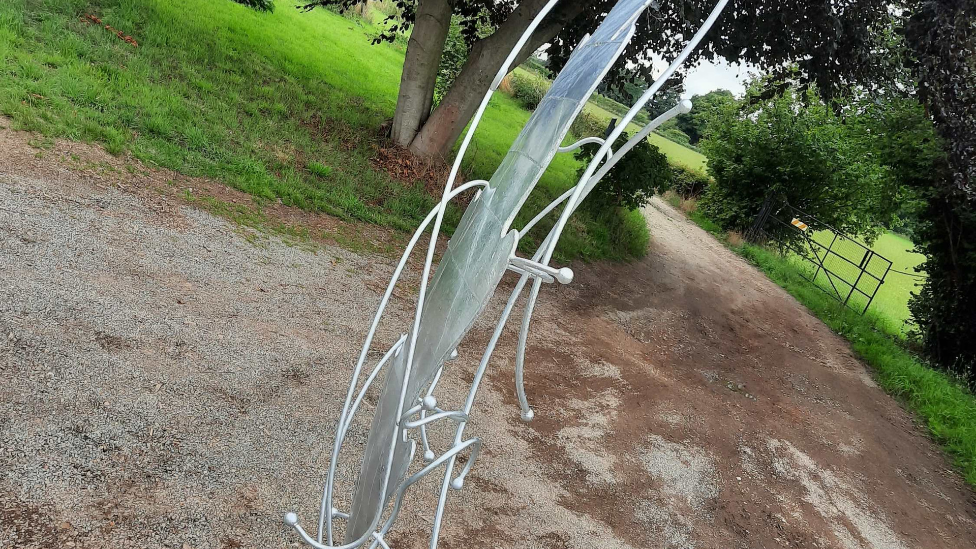 Leaf sculpture galvanised