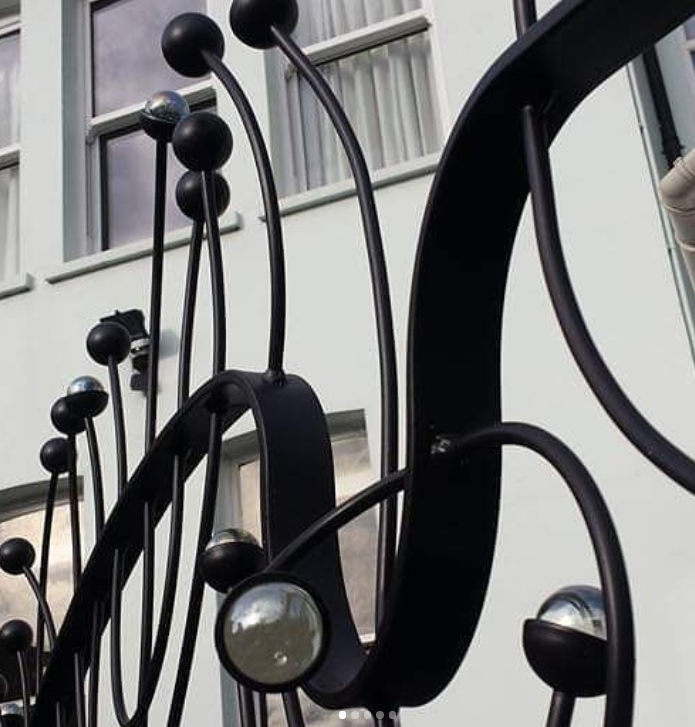 Railings in Ipswich dressed with marbles