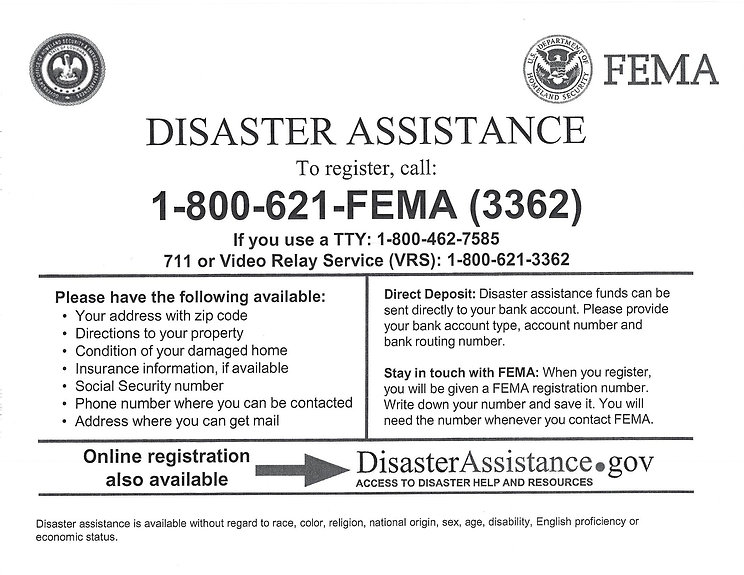 FEMA Disaster Assistance Form - English