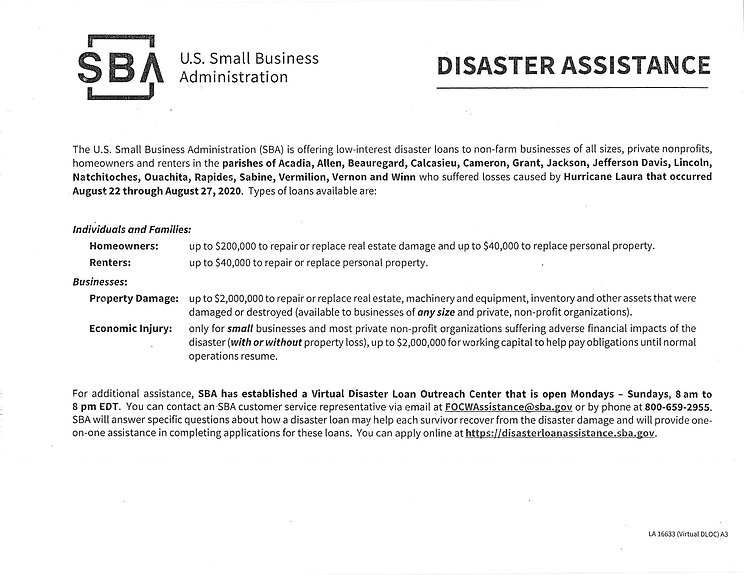 U.S. Small Business Administration Disas