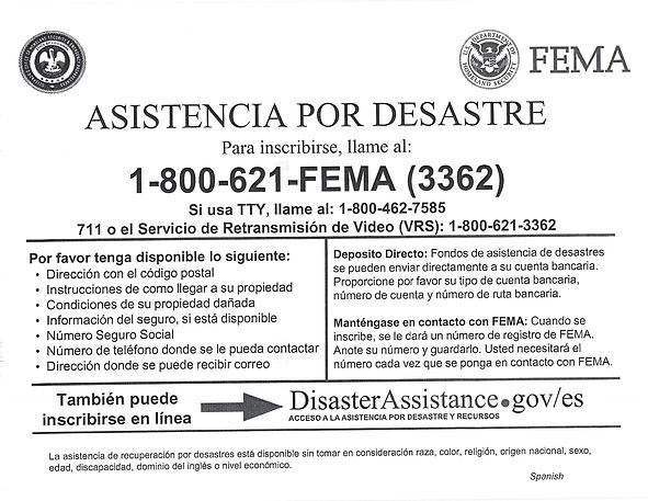 FEMA Disaster Assistance Form - Spanish
