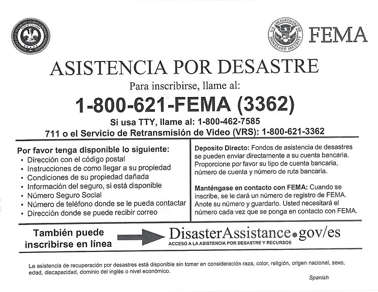FEMA Disaster Assistance Form - Spanish