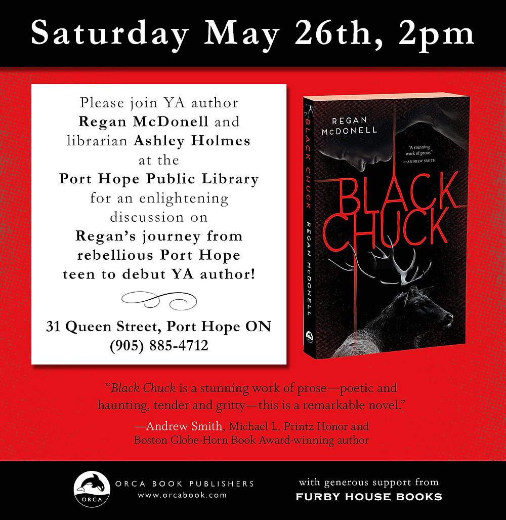 I will be at the Port Hope Public Library on Saturday May 26th, at 2pm, chatting with local librarian Ashley Holmes about all things Black Chuck