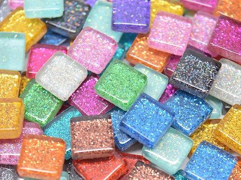 Glitter Mini Glass Mosaic Tiles: 10mm x 10mm x 4mm.