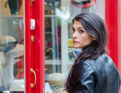 Actress about to enter shop