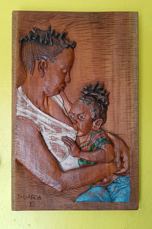 Black Mother & Child Wood Carving
