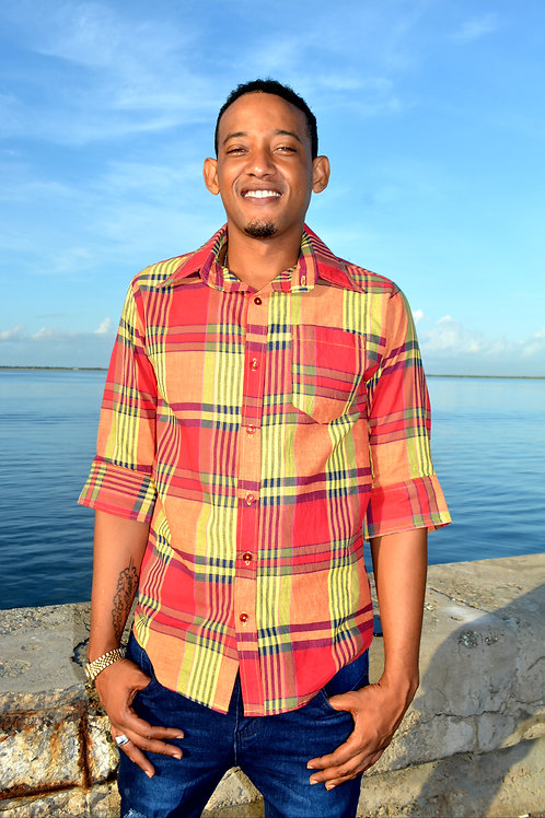Jamaican Men Plaid Shirt
