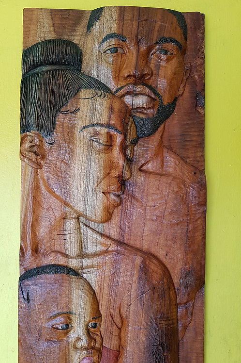 Black Family Wood Carving