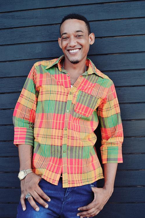 Jamaican Men Plaid Shirt (Green)