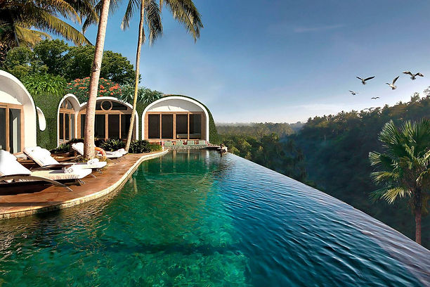 Green bubble house, Bali eco hotel, green building, sustainable green living homes