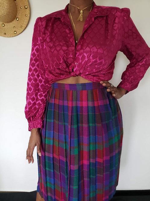 Vintage Checkered Pleated Rainbow Skirt < 18 >