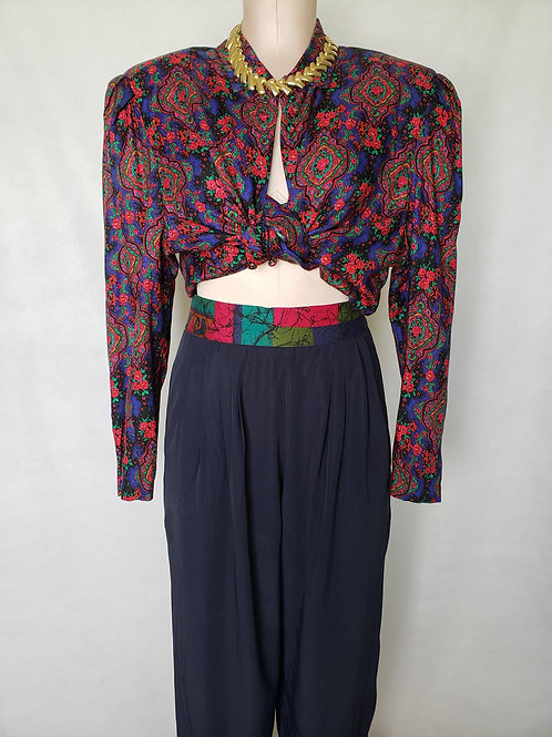 Vintage High Waist Color Block Trousers < M/L >