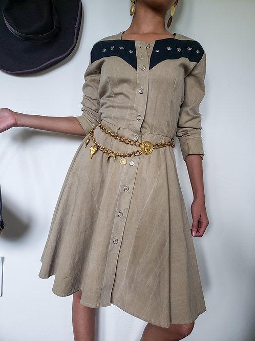 80s Western Style Dress < 3/4 >