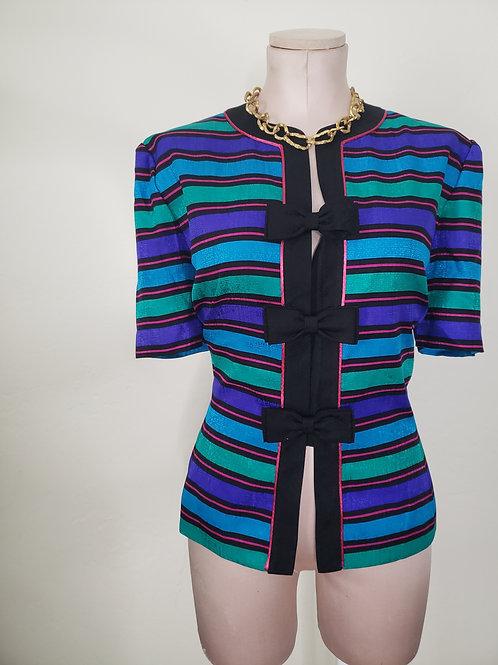 Bow Tie Silk Vintage Blouse < 12 >