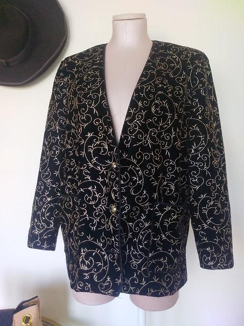Vintage Black & Gold Sweater Blazer < 8 >