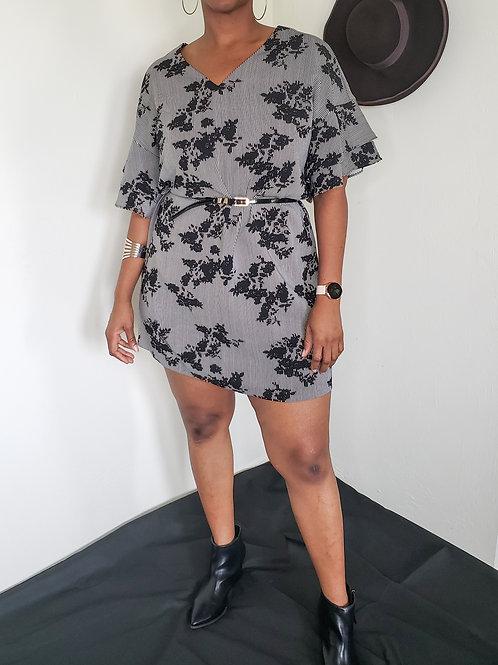 Black Floral Dress < XL >