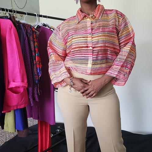 Stripe Sheer Oversize Blouse < 2X >