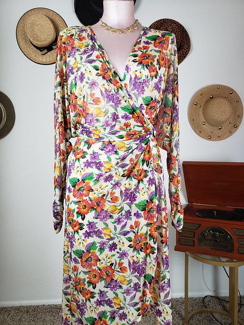 Vintage Sheer Wrap Dress < L / Xl >