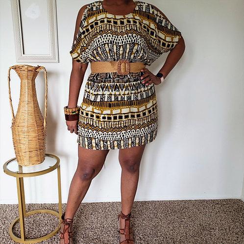 Tribal Cold Shoulder Dress < L >