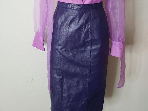 Vintage High Waist Leather  Skirt  < 8 >