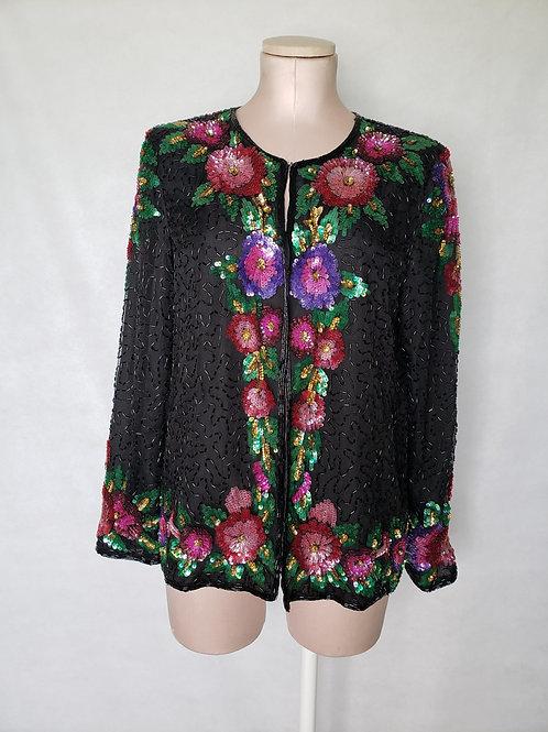 Vintage  Silk Sequins Jacket < M >