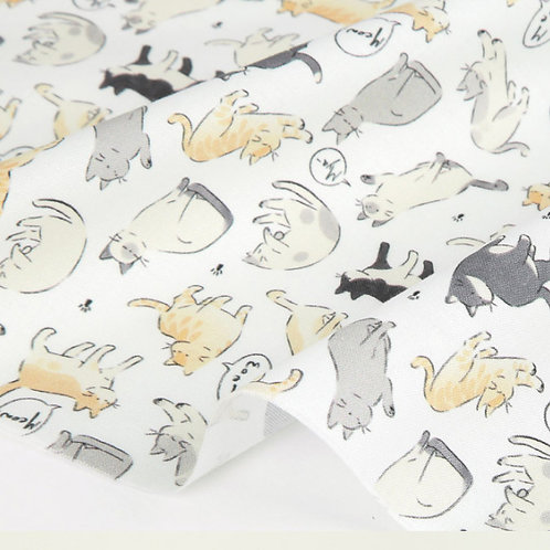 [Animal Pattern]  Posing Cat, 100% Cotton Fabric by the yard, DTP