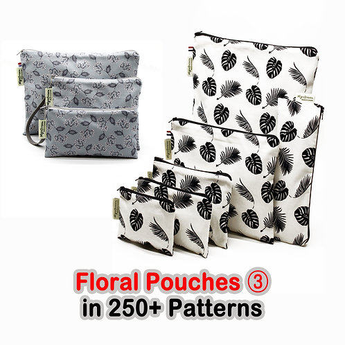 Floral pouches, Reusable pouch, Reusable bag, Washable bag, Zipper bag