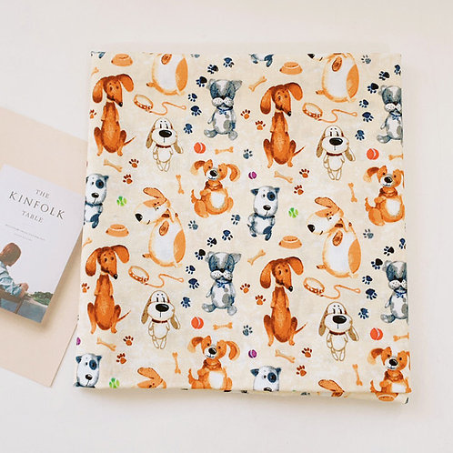 [Animal Pattern] Watercolor Dogs, 100% Cotton Fabric by the yard, Free shipping