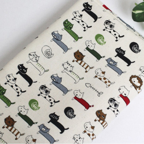 [Animal Pattern] Walking Cat Oxford Cotton Fabric by the yard Free Shipping