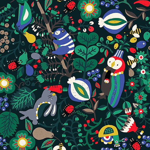 [Floral & Animal Pattern] Happy Forest, 100% Cotton Fabric by the yard