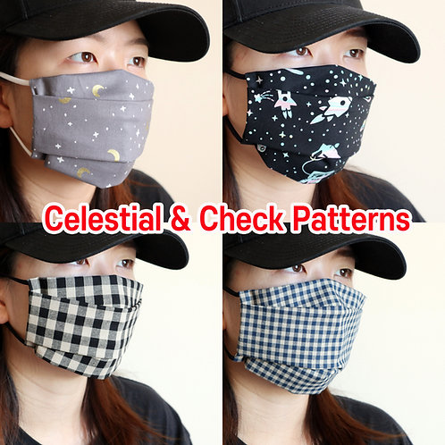 Celestial & Check printed Reusable face mask with filter pocket Washable Cotton