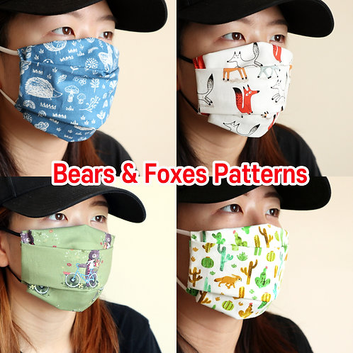 Bear & Fox printed mask Reusable face mask with filter pocket Washable cotton