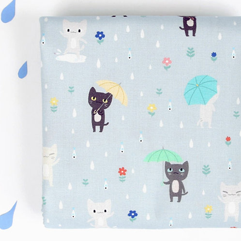 [Animal Pattern] Rain and Cat, 100% Cotton Fabric by the yard, DTP