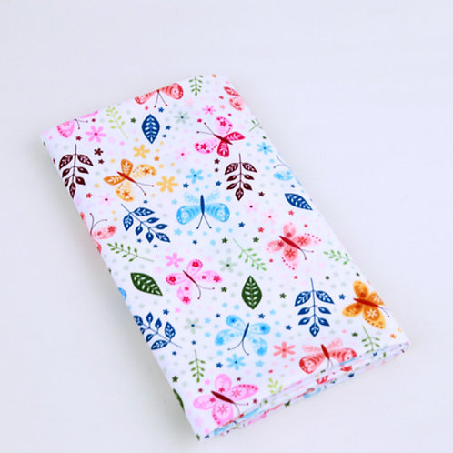 [Floral & Animal Pattern] Flowers and Butterflies,100% Cotton Fabric by the yard