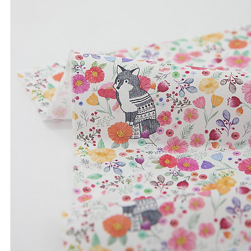 [Animal Pattern] Lovely Pinky Fox, 100% Cotton Fabric by the yard, DTP,