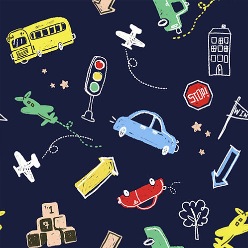 [Lifestyle Pattern] Let's go!, 100% Cotton Fabric by the yard, DTP
