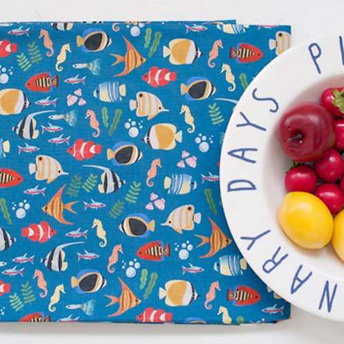 [Animal Pattern] Fish print 100% Cotton Fabric by the yard, DTP
