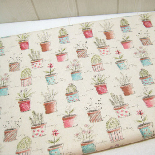 [Floral Pattern] Small Flowerpot, Oxford Cotton Fabric by the yard,Free Shipping