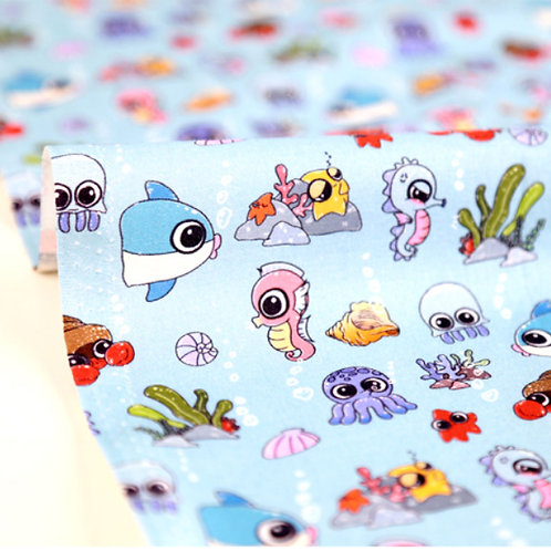 [Animal Pattern] Octopus and Sea Horse, 100% Cotton Fabric by the yard, DTP