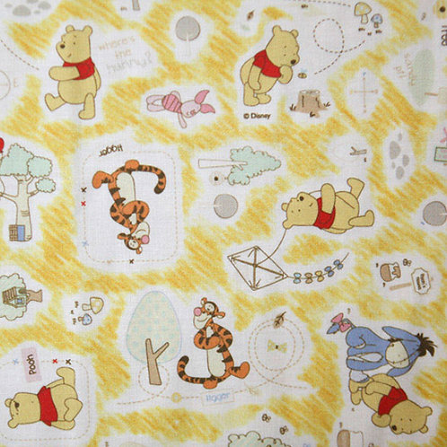[Disney Pattern] Pooh Tigger Eeuore Peglet print 100% Cotton Fabric by the yard