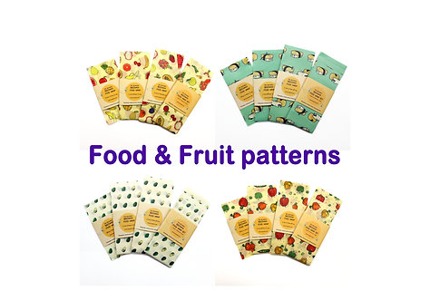 Fruit beeswax wrap, Beeswax Food Wraps, Reusable wrap, Zero Waste, food pattern