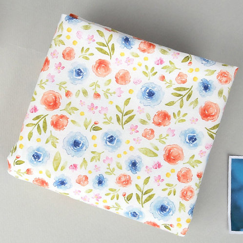 [Floral Pattern] Watercolor flowers, 100% Cotton Fabric by the yard, DTP