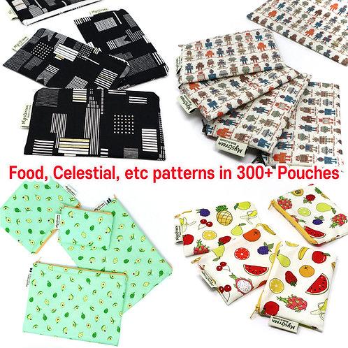 Food, Celestial etc print Reusable pouch set Washable waterproof Zipper bag